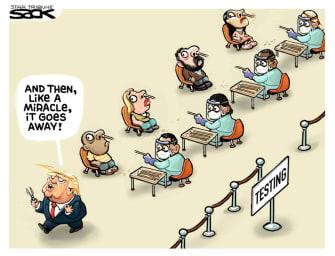 Political Cartoon U.S. Trump coronavirus testing