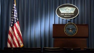 A podium at the Pentagon.