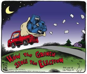Political Cartoon U.S. Trump Grinch vote by mail