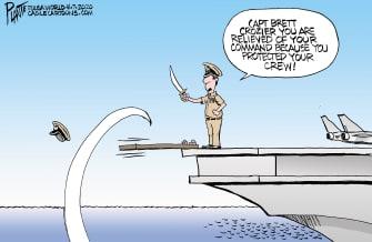 Political Cartoon U.S. Navy Captain Crozier walks the plank protects crew coronavirus