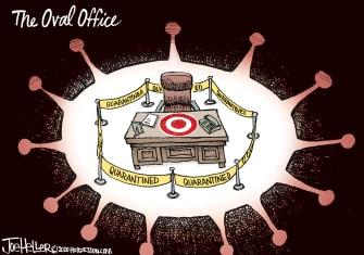 Editorial Cartoon U.S. Trump COVID Oval Office