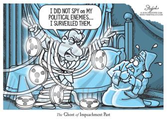 Political Cartoon U.S. Nixon Ghost Of Impeachment Past