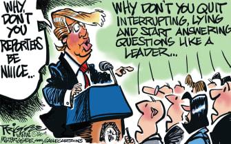 Political Cartoon U.S. Trump White House media reporters briefings lying