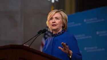 Hillary Clinton gives a speech at Columbia University.