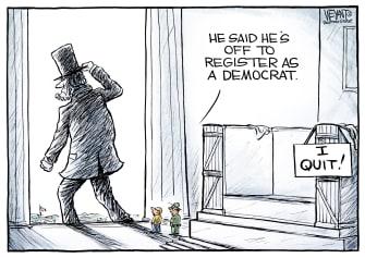 Political Cartoon U.S. New Party Of Lincoln Democrats