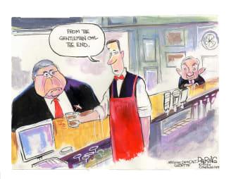 Political Cartoon U.S. Barr Sessions Trump