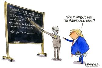 Political Cartoon U.S. Trump debate talking points