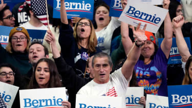 Bernie Sanders supporters in New Hampshire.