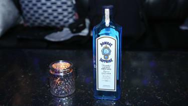 A Bombay Sapphire bottle.
