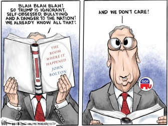 Political Cartoon U.S. GOP Trump Bolton book Mitch McConnell
