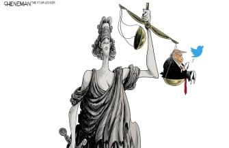 Political Cartoon U.S. Trump William Barr Twitter lady justice scales unbalanced tweets