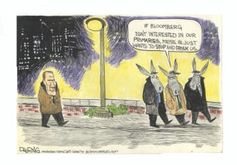 Cartoon U.S. Michael Bloomberg DNC Democrats 2020 election presidential primaries stop and frisk