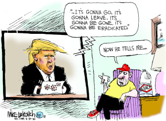 Political Cartoon U.S. Trump bleach coronavirus MAGA