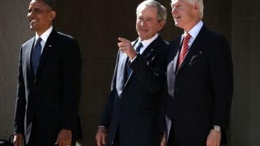 Barack Obama, George W. Bush, and Bill Clinton.