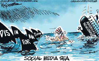 Editorial Cartoon U.S. Coronavirus Uncle Sam social media disinformation newspapers