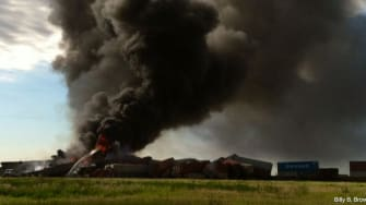The fiery aftermath of a head-on train collision Tuesday in Texas.