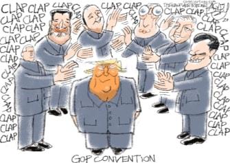 Political Cartoon U.S. Trump RNC applause