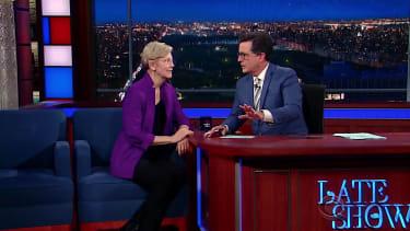 Stephen Colbert and Elizabeth Warren discuss Donald Trump's acceptance speech