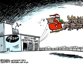 Editorial Cartoon U.S. Christmas Pfizer COVID vaccine