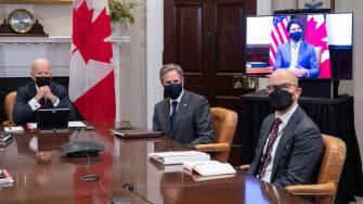 Joe Biden, Antony Blinken, Justin Trudeau, and Juan Gonzalez.