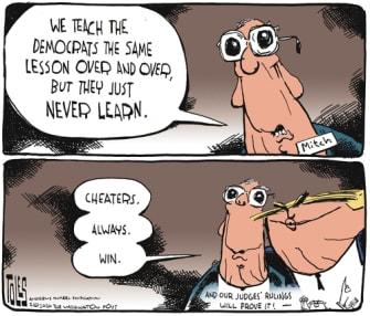 Political Cartoon U.S. McConnell Trump cheaters wins impeachment