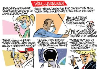 Political Cartoon U.S. Trump viral headlines spacex