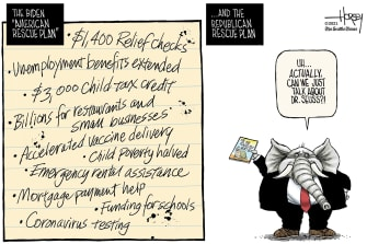 Political Cartoon U.S. gop dr seuss covid stimulus democrats