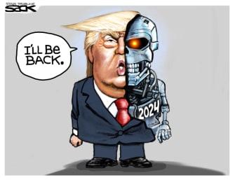 Political Cartoon U.S. Trump Terminator 2024