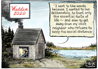 Editorial Cartoon U.S. Coronavirus Henry David Thoreau Walden Pond social distancing travel woods