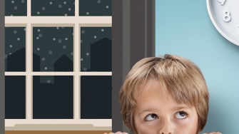 A child looks at a clock past 10 p.m. and a dark window.