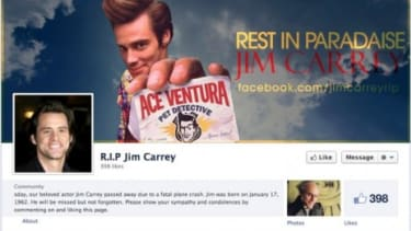 Jim Carrey is not dead, despite a Facebook page saying otherwise.