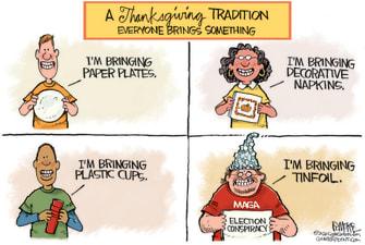 Political Cartoon U.S. Trump supporter conspiracy Thanksgiving