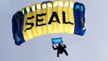 A U.S. Navy SEAL is seen demonstrating combat skills at the UDT-SEAL Museum in Fort Pierce, Florida.