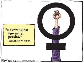 Political Cartoon U.S. Elizabeth Warren DNC Democrats 2020 primaries campaign drop out women persistence