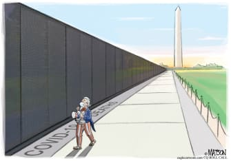 Editorial Cartoon U.S. Covid-19 memorial wall remembering honoring victim