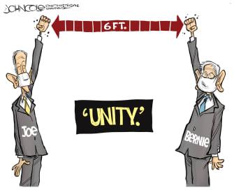 Political Cartoon U.S. Biden Sanders unity 2020 elections nominee democrats