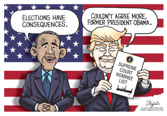 Political Cartoon U.S. Trump Obama Ruth Bader Ginsburg