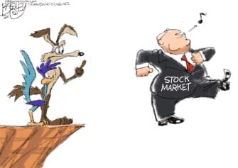 Editorial Cartoon U.S. stock market 30000 dow