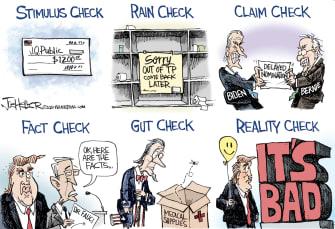 Political Cartoon U.S. Trump Anthony Fauci Coronavirus check stimulus facts unemployment