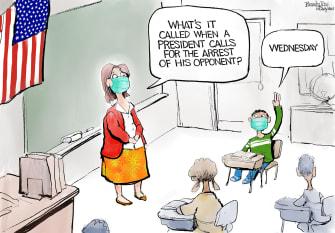 Political Cartoon U.S. Trump Biden arrest