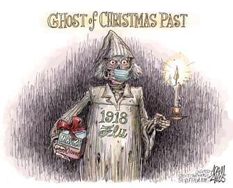 Editorial Cartoon U.S. COVID Christmas 1918 flu