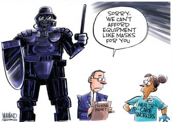 Editorial Cartoon U.S. healthcare workers riot police gear