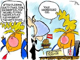 Political Cartoon U.S. Trump Flynn exoneration valet coronavirus