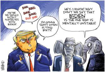 Political Cartoon U.S. Trump Biden coronavirus remarks GOP