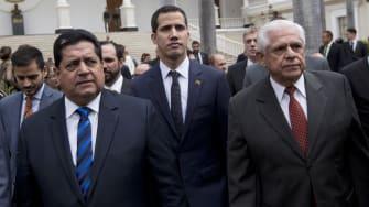 From left: Edgar Zambrano, Juan Guaidó, and Omar Barboza.