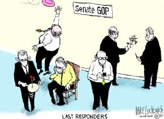 Political Cartoon U.S. GOP coronavirus inaction
