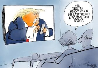 Political Cartoon U.S. Trump Twitter COVID rabies