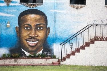 A mural honoring Ahmaud Arbery.