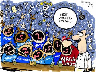 Political Cartoon U.S. MAGA 2020 election rounds Democrats