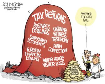 Political Cartoon U.S. Trump scandals Mnuchin